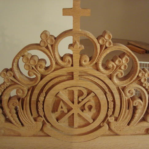 crest rail hand carved
