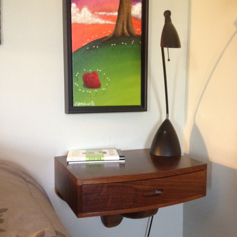 table hung on wall in owner's home