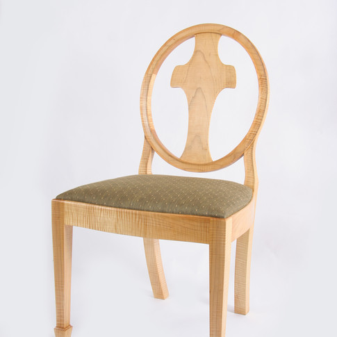 finished chair in Tiger Maple