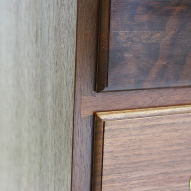 detail of drawer lip and dovetailed divider