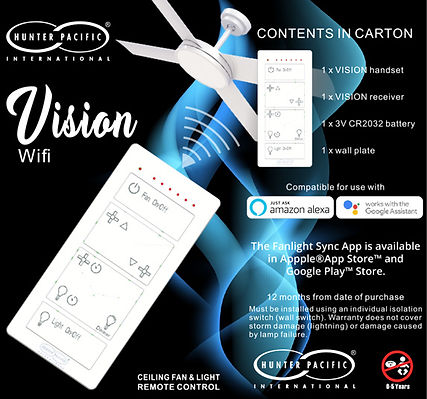 Hunter Pacific Vision WiFi Smart Ceiling Fan Remote Control