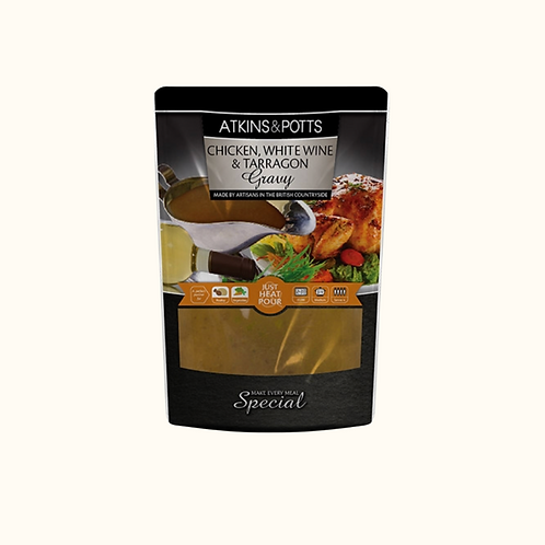 ATKINS AND POTTS CHICKEN GRAVY WITH WHITE WINE AND TARRAGON 350g