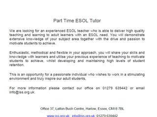 Part-Time ESOL Tutor Vacancy