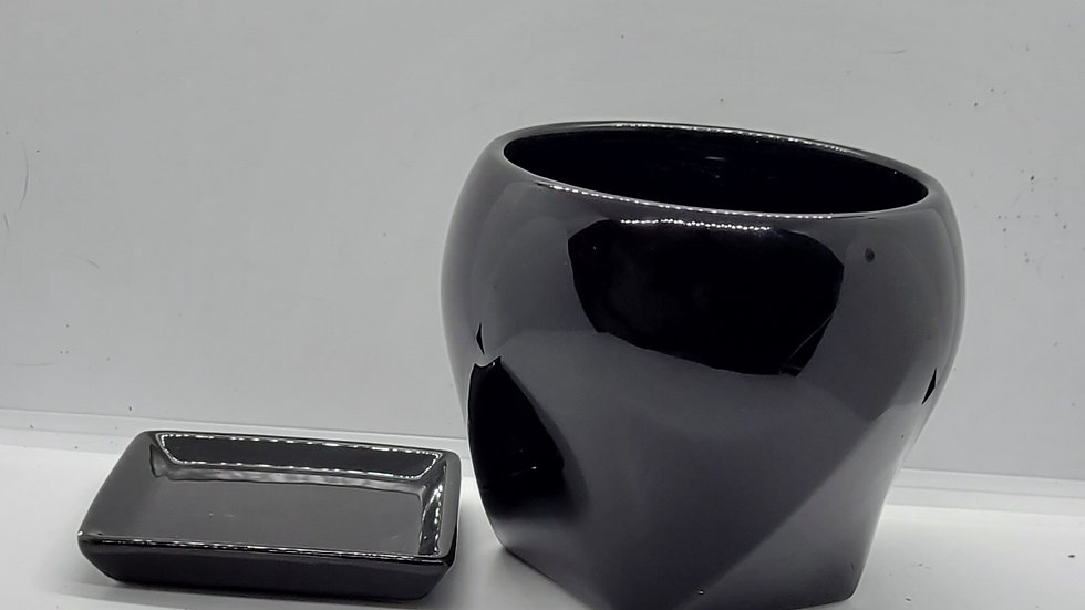 Black Planter w/ coaster