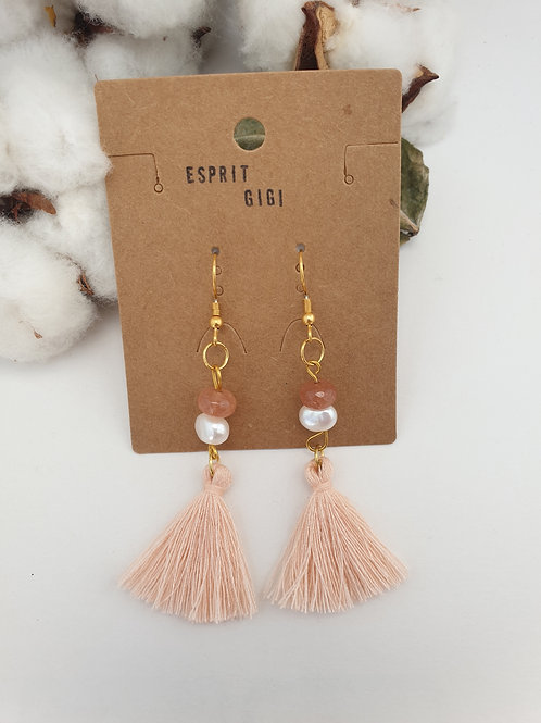 Boucles d'oreilles pompons et perles