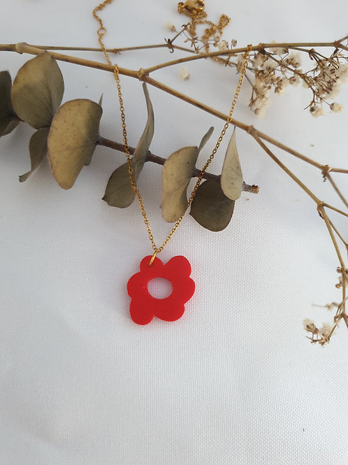 Collier Flora rouge or