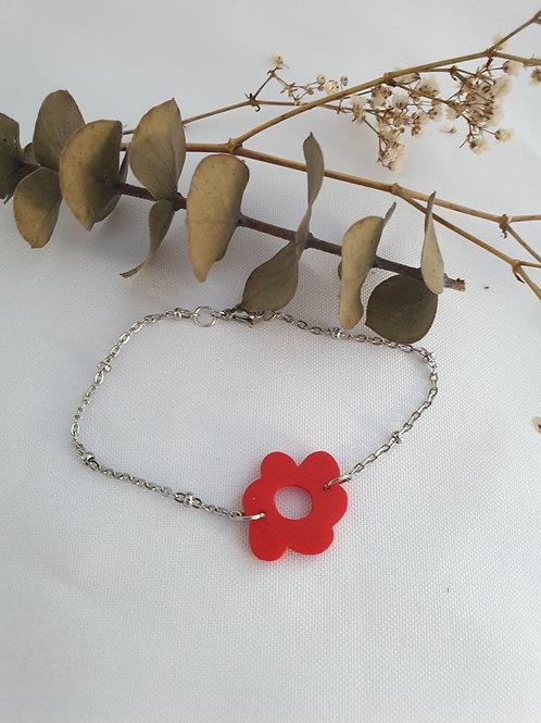 Bracelet Flora rouge chaîne argent