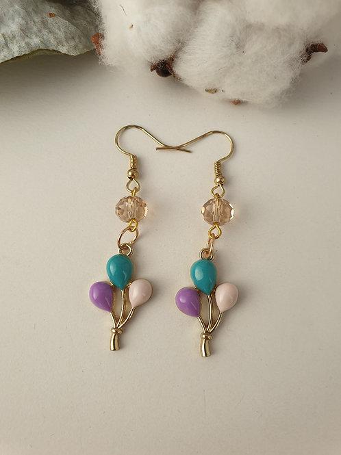 Boucles d'oreilles ballons rose violet bleu