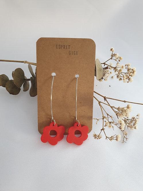 Boucles d'oreilles fleurs Flora rouges