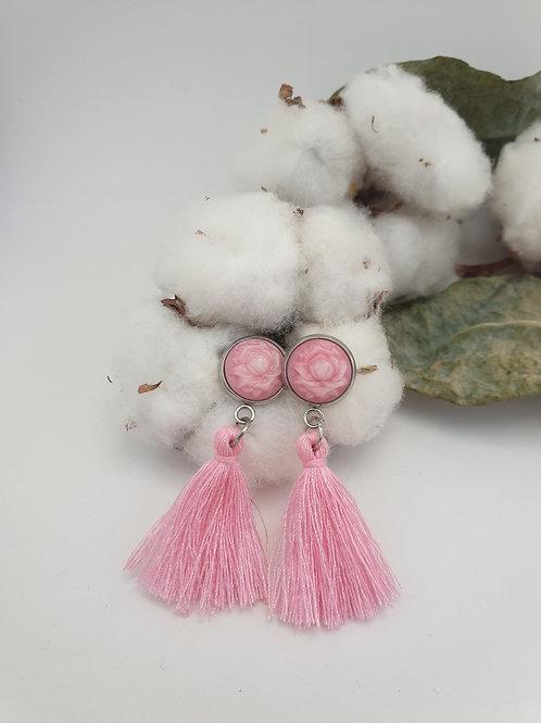 Boucles d'oreilles fleurs et pompons ROSE