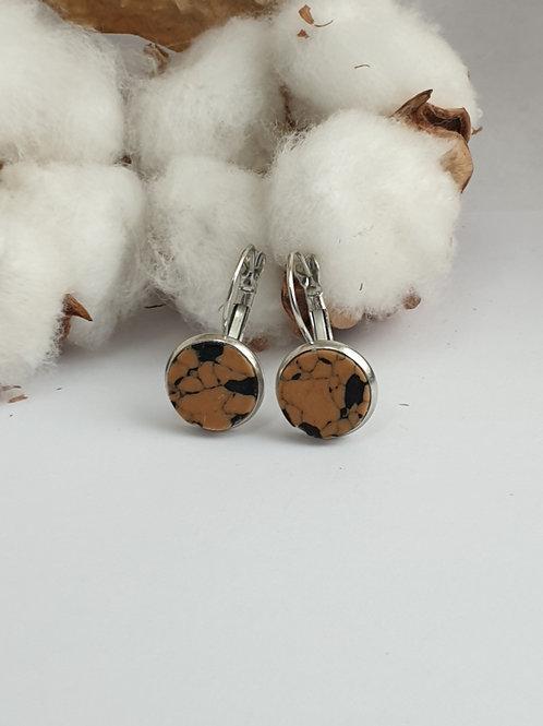 Boucles d'oreilles marbre marron et noir