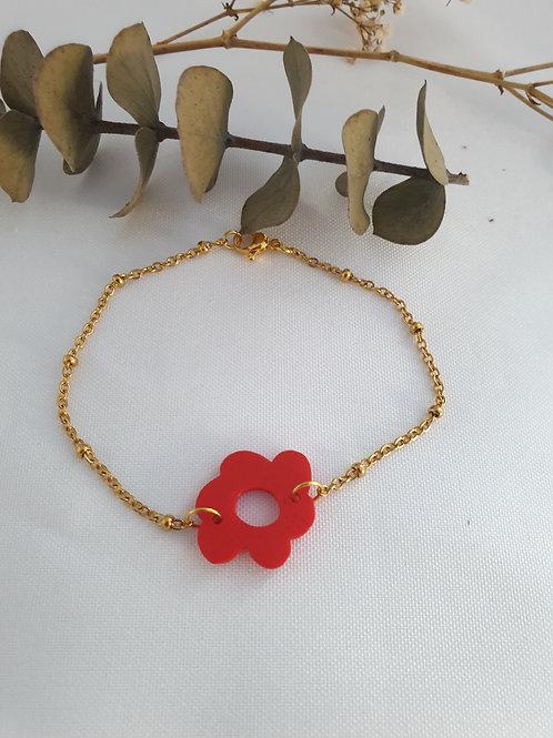 Bracelet Flora fleur rouge Chaîne doré