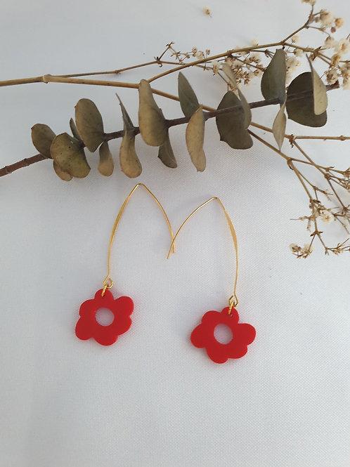 Boucles d'oreilles Flora  fleurs rouges