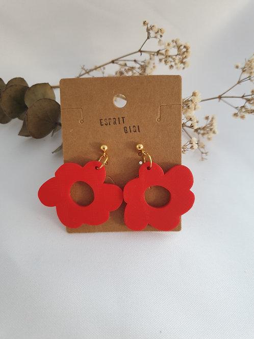 Puces d'oreilles Flora rouges