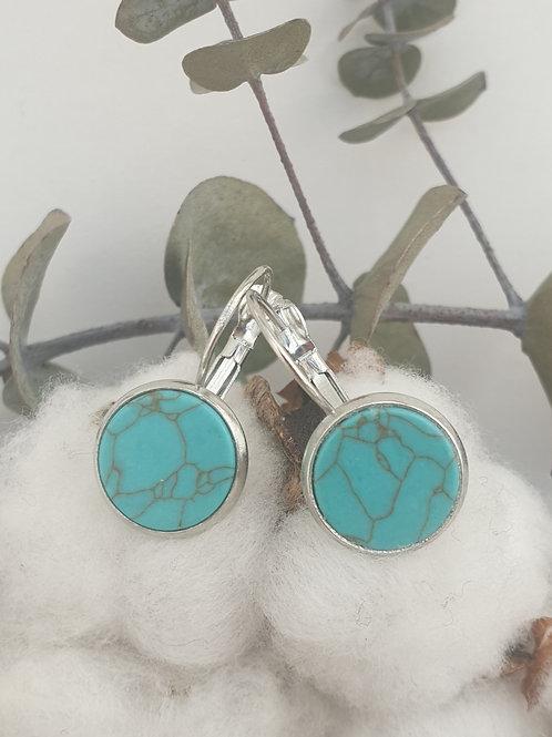 Boucles d'oreilles dormeuses  Marbre bleu
