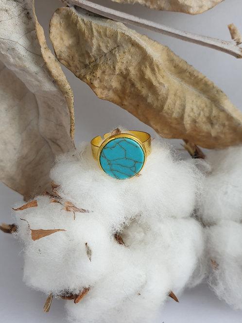 Bague marbre bleu et or