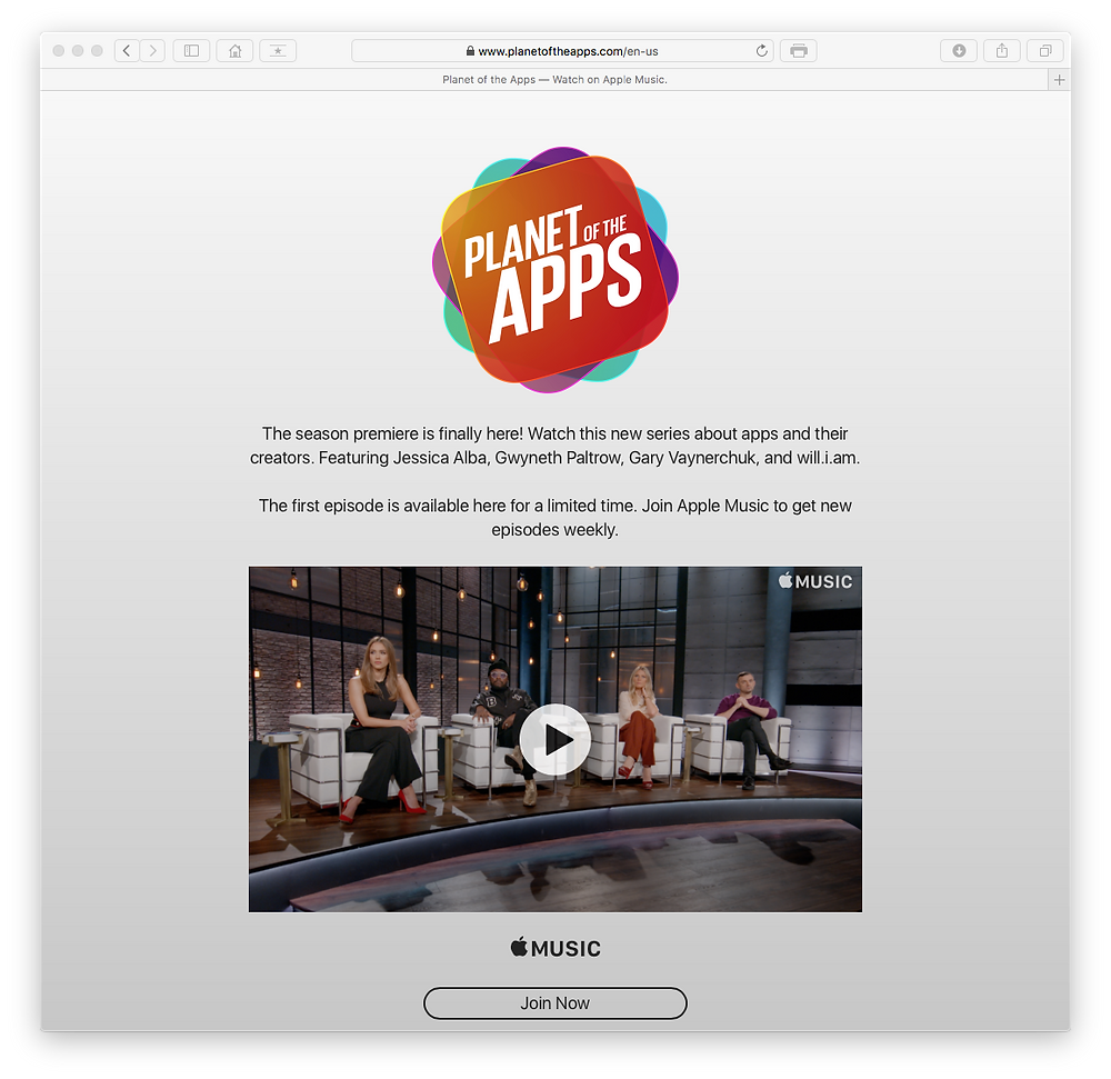 Planet of the Apps on the web