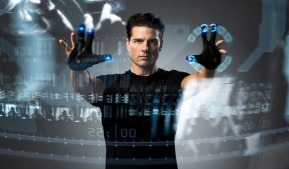 Tom Cruse using augmented reality data in the film, Minority Report