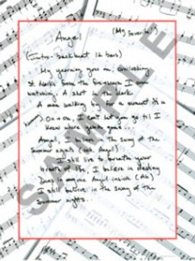 Angel - Lyric Sheet - Autographed