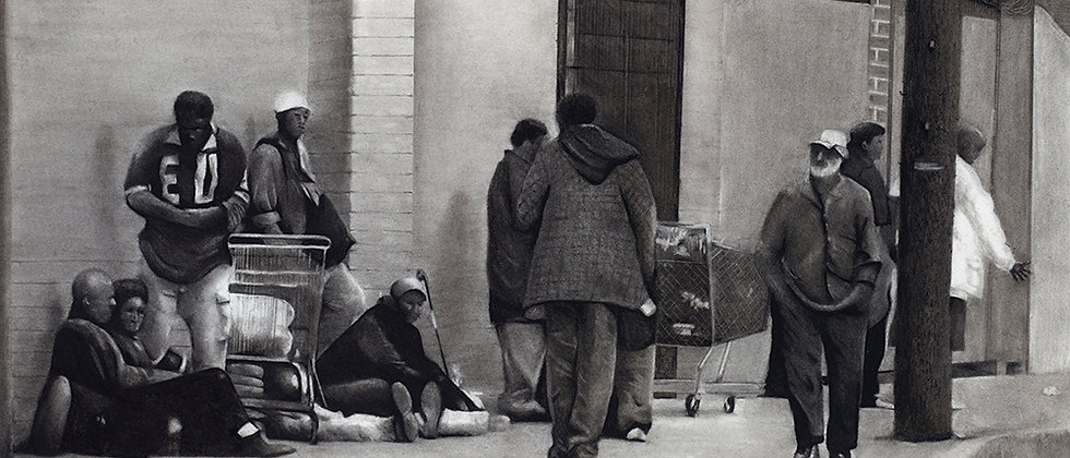 A crowded sidewalk along skid row in Los Angeles rendered in charcoal.