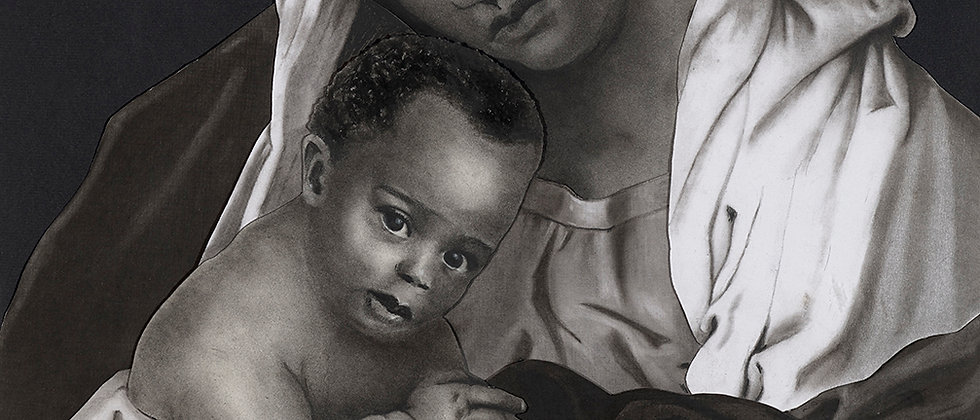 A mother of color holds her child in the classic madonna pose. Various papers cut into collage and detailed in charcoal.