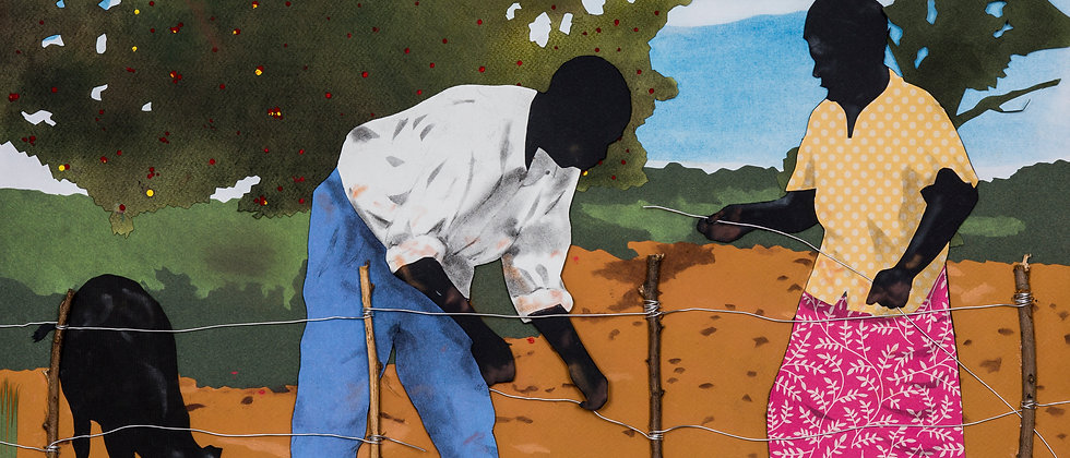 A rural scene of workers mending a fence. Various papers cut and formed into collage and detailed with charcoal and pastel.