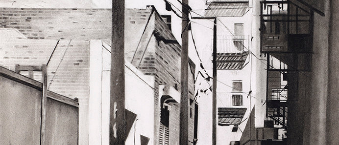 A photorealistic rendering of an alley in Los Angeles detailed with charcoal.