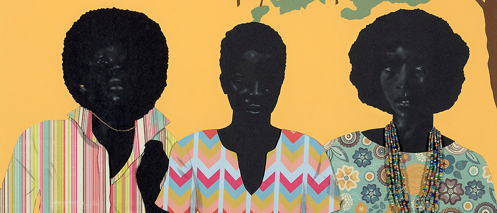 Three women of color showing off their style. Various papers cut and formed into collage and detailed with charcoal.