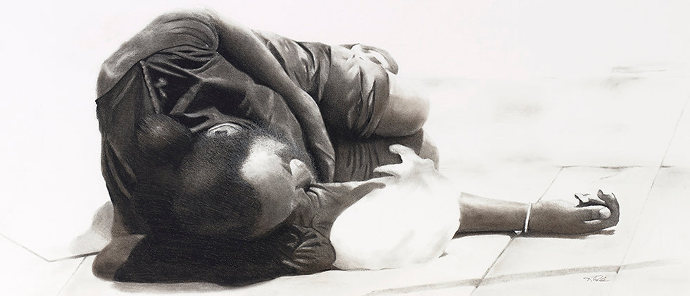 An urban scene depicting a homeless man napping on the sidewalk at noon in Los Angeles. Rendered in charcoal.