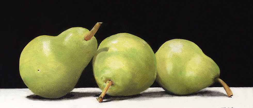 A still life rendering of three pears detailed with charcoal and pastel.