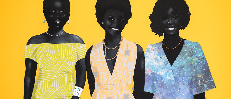 Three fashionistas show off their style. Various papers cut and formed into collage and detailed with charcoal.