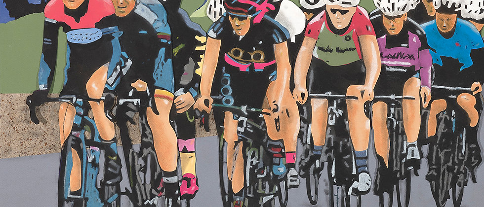 Cyclists riding at the Rosebowl in Pasadena, California. Various papers cut and formed into collage and detailed with pastel.