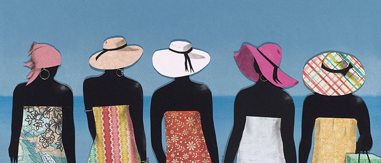 Five women showing off their style at the beach. Various papers cut and formed into collage and detailed with charcoal.