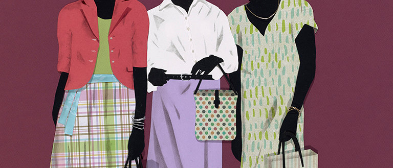 Three fashionistas flaunting their style while shopping. Various papers cut and formed into collage and detailed in charcoal.