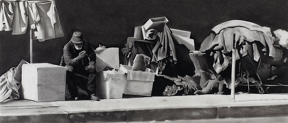 An urban scene depicting life in a homeless encampment in Los Angeles rendered in charcoal.