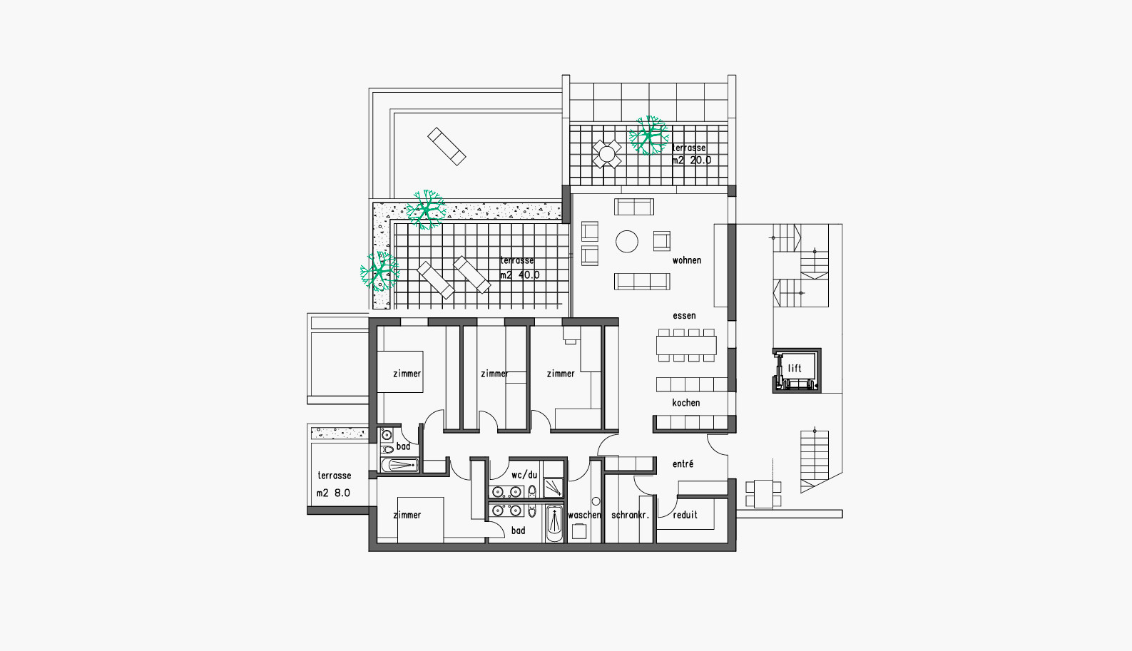 ebene 2 – mittleres terrassenhaus