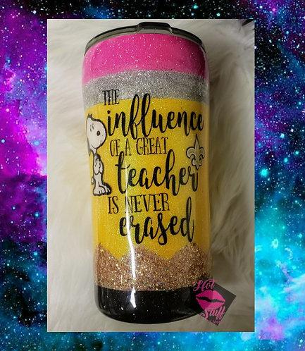 Influence of a Great Teacher Pencil Glitter Tumbler