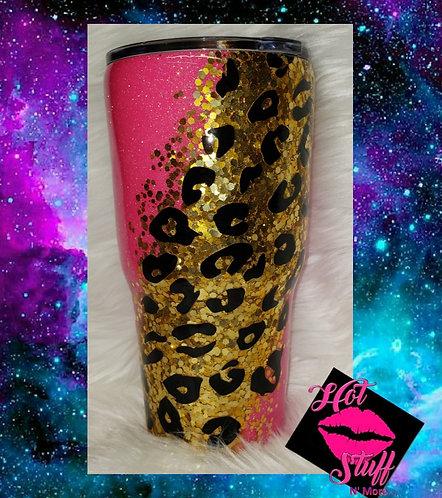 Pink & Gold Cheetah Print Glitter Tumbler