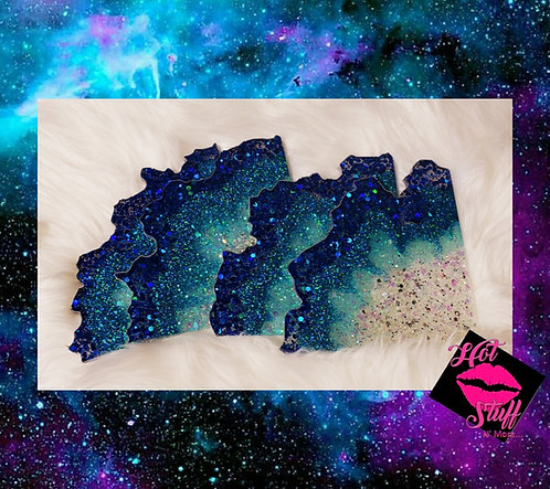 4pc Ocean Breeze Blue Geode Coasters