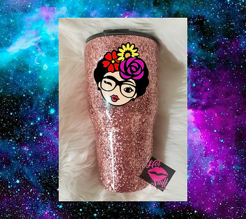 Rose Gold Cartoon Frida Glitter Tumbler