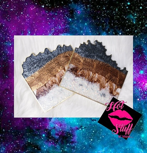 Earth Layers Geode Coasters