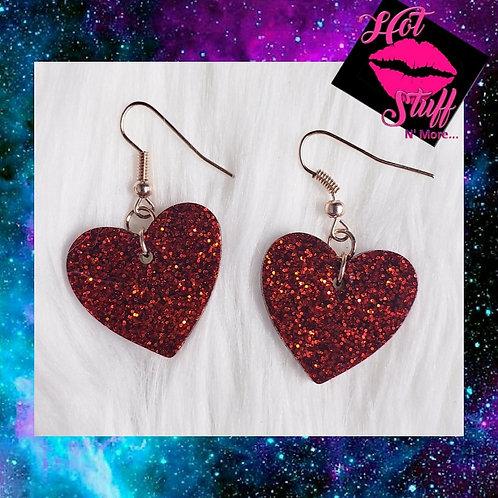 Sparkly Heart Dangle Earrings