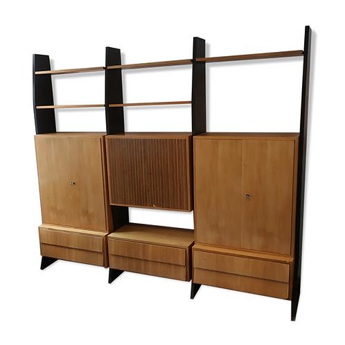 Bibliothèque sur pieds des années 50 du designer Erich Stratmann, modulable