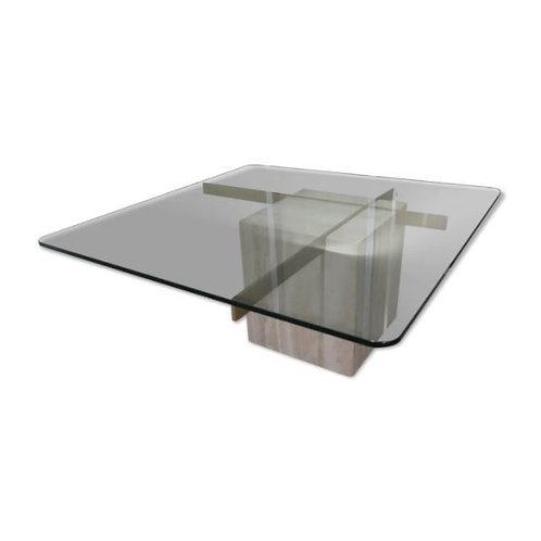 Coffee table in travertine glass and brass from the 70s