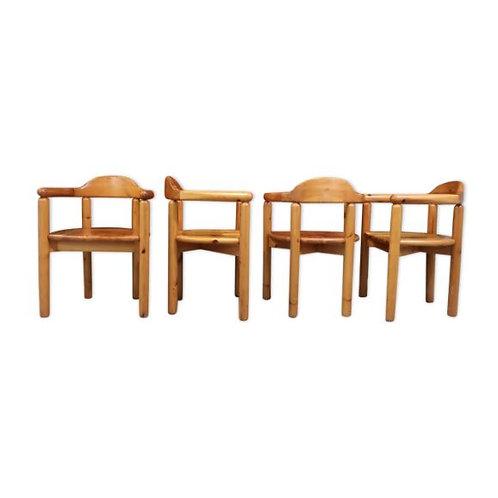 Lot de 4 chaises brutaliste en bois années 60