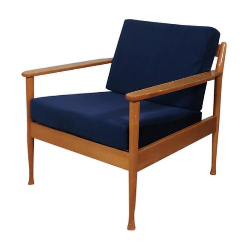 Fauteuil style scandinave années 60 velours bleu