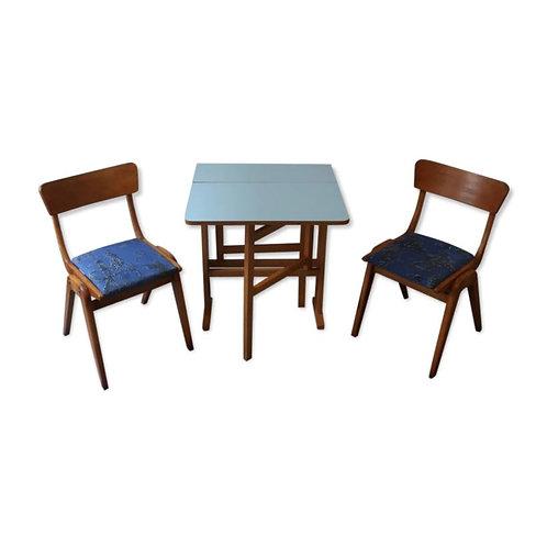 Table des années 60 avec deux chaises
