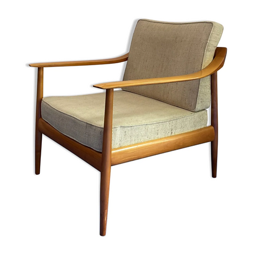 Scandinavian armchair in wood and fabric from the 60s