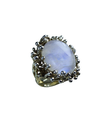 Rainbow Moonstone Waterflower Cocktail Ring