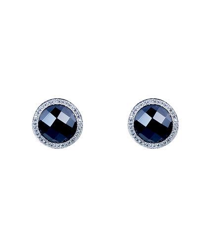 Black Onyx Halo Earrings